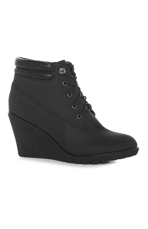 black wedge work boot for primark