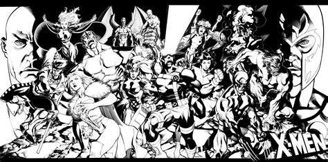 black and white comic wallpaper x men team pin up by christopherstevens on deviantart