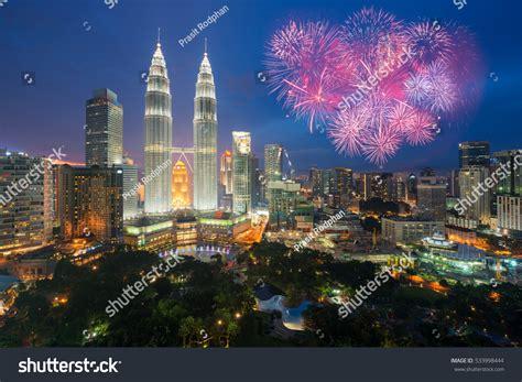 new year fireworks klcc kuala lumpur skyline fireworks celebration new stock photo