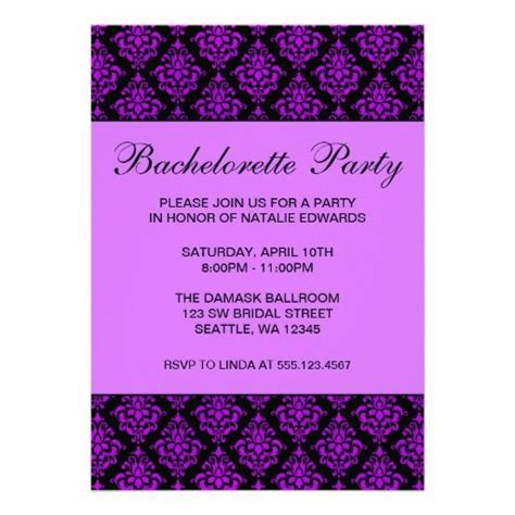 Handmade Bachelorette Invitations - 11 best images about purple white black wedding