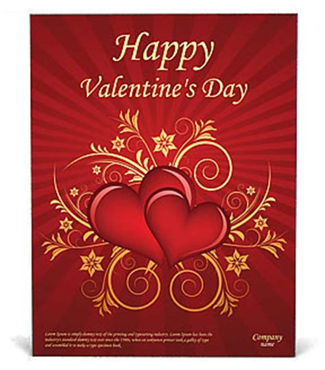 valentines day card template publisher valentines day poster template design id 0000000875