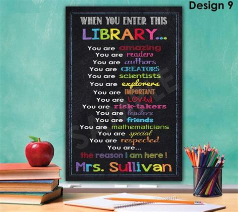 printable library poster library sign library decor librarian gift library rules