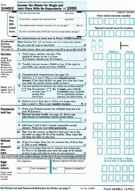 printable tax form 1040ez printable form pdf