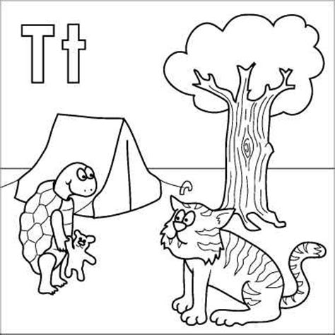 coloring pages letter t letter t coloring page tortoise tiger teddy tent tree
