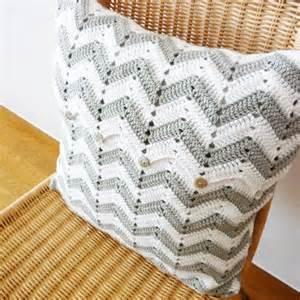 chevron pattern crochet pillow gray white