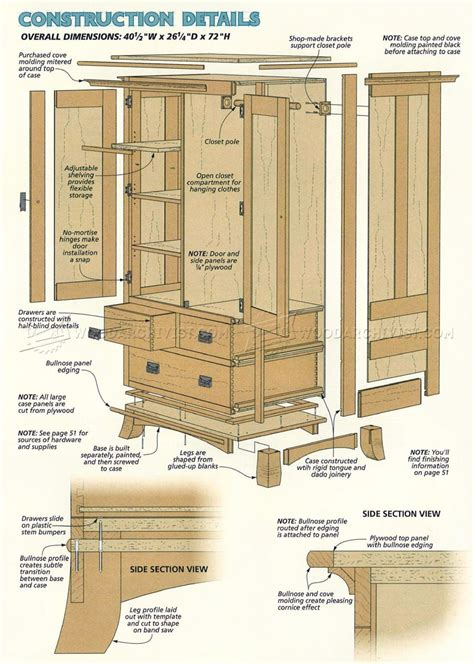 cherry armoire plans woodarchivist