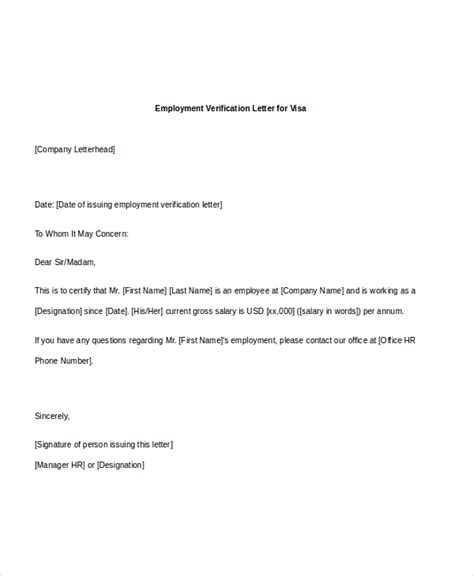 employee verification letter sop examples