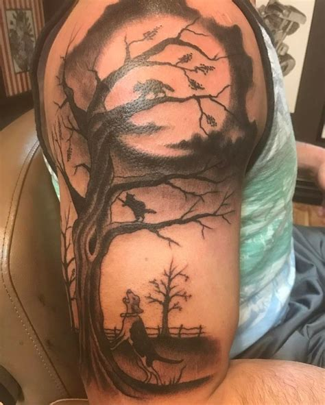 tattoo arm job coon hunting piece i had done by darren mckeag in cedar
