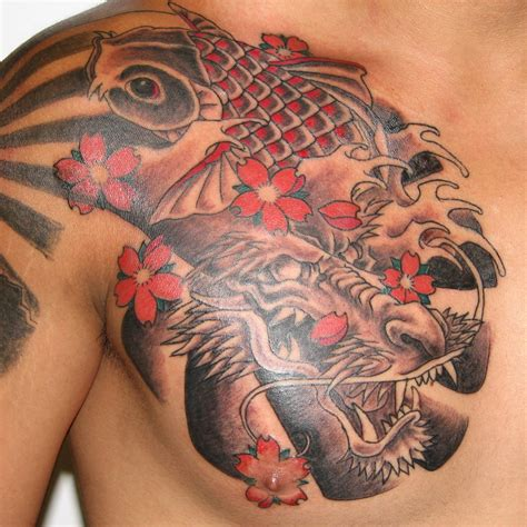 tattoos for men dragon koi and chest for