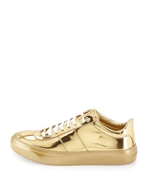 mens gold sneakers jimmy choo portman mirrored low top sneakers in metallic
