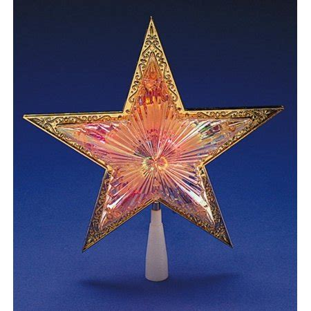 five star lighted tree top 10 quot lighted gold tree topper multi color lights walmart