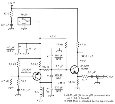 bipolar transistor vfo measuring and compensating oscillator frequency drift