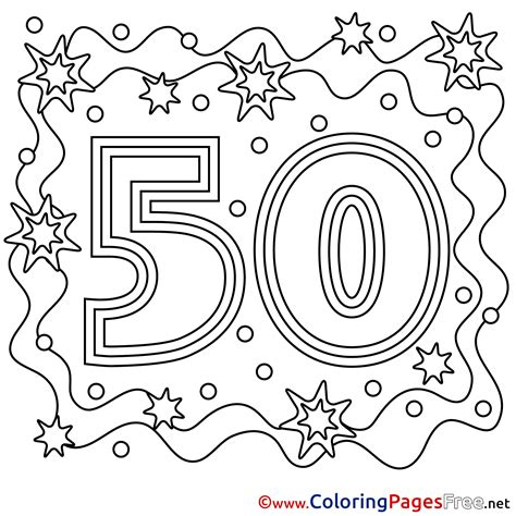 50 Coloring Page 50 years children happy birthday colouring page