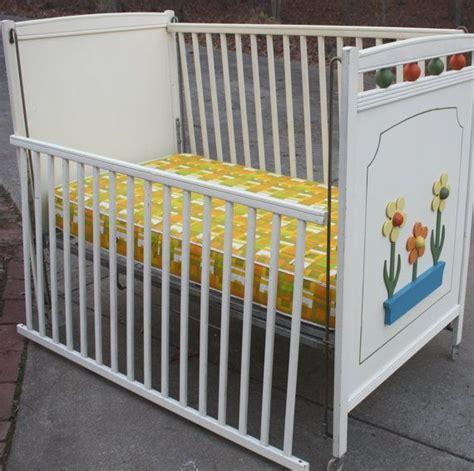 Retro Baby Cribs 1970s Retro Child Line White Baby Crib With Orange And Yellow Flower