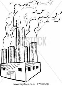 Factory Pollution Drawing Sketch sketch template