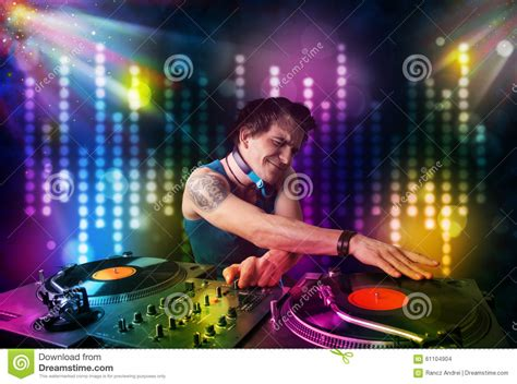 songs for light shows dj songs in a disco with light show stock photo