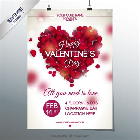 valentine s valentine s club party poster vector free download
