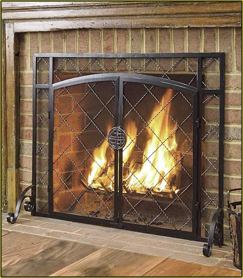 pottery barn industrial fireplace screen home design ideas