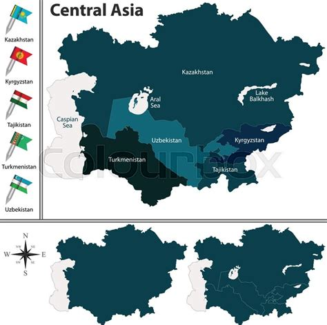political map of central asia vector of political map of central asia set with flags on