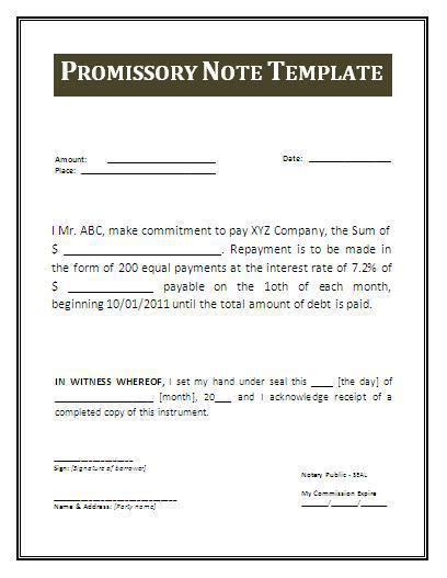 simple promissory note template word promissory note templates free premium