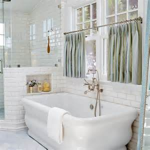Bathtub Curtain by Freestanding Tub Window Dressed In Blue Cafe