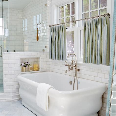 window treatments for bathroom window in shower freestanding tub window dressed in blue cafe