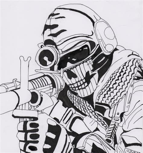 coloring pages of advanced warfare ghost call of duty by kopale on deviantart