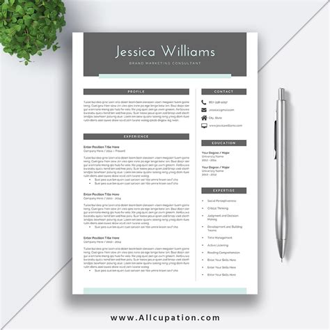 creative beautiful resume template cover letter