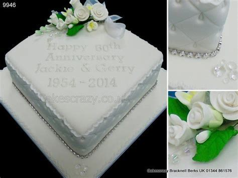 Diamond shaped 60th diamond wedding anniversary cake with