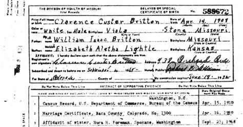 Missouri Birth Certificate Records Our Britton Ancestors Birth Certificate Of Clarence