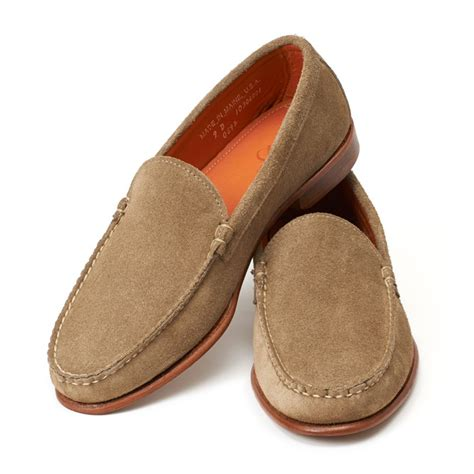 image of loafers venetian loafers taupe odesa suede loafers men s