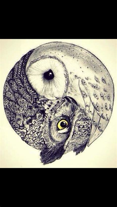 tattoo owl wolf ying yang tattoo would love to have one side a wolf and