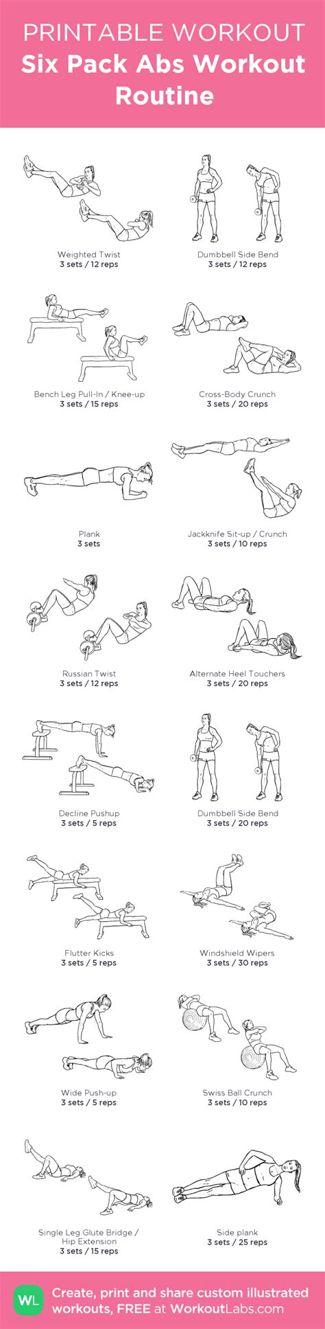 printable workout plan with pictures six pack abs workout routine my custom printable workout