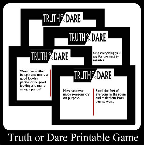 Or Question And Dares Or Printable Cards