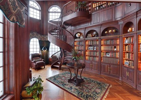house library design the stunning cherry wood library boasts wall to wall