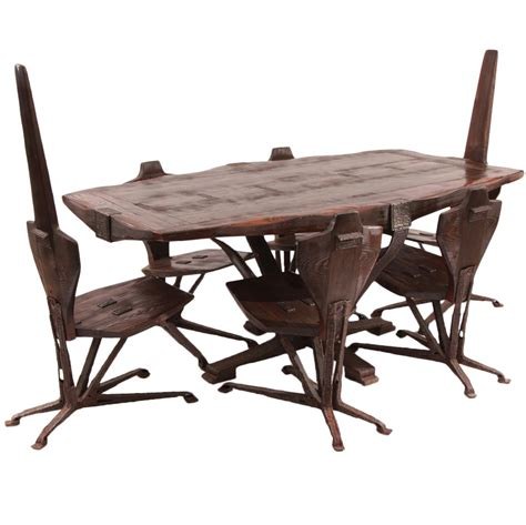 brutalist steel and pine dining table and chairs for sale
