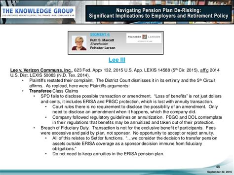 erisa section 510 navigating pension plan de risking significant