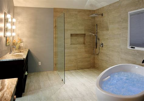 Bathroom Design Idea Massage Bathtub Open Shower Open Shower Bathroom