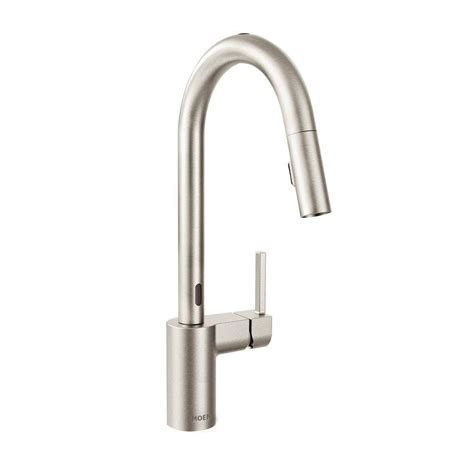 moen motionsense kitchen faucets moen align single handle pull sprayer touchless kitchen faucet with motionsense in spot