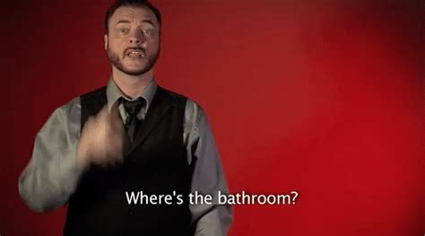 wheres the bathroom sign language wheres the bathroom gif by sign with robert