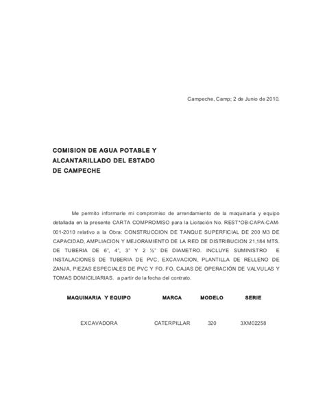 carta modelo de compromiso laboral carta compromiso