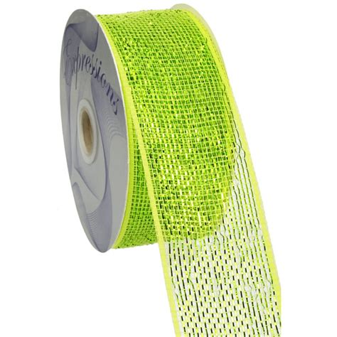 Poly Apple 2 5 quot poly mesh ribbon metallic apple green rs200471