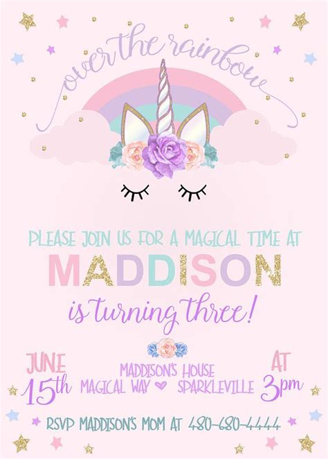 Unicorn Birthday Invitation Unicorn Party Invitation Rainbow Birthday Invitation Unicorn Unicorn Birthday Invitations Template