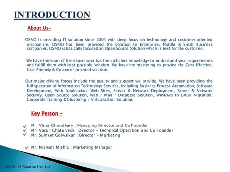 simple business profile template osmo it solutions pvt ltd company profile