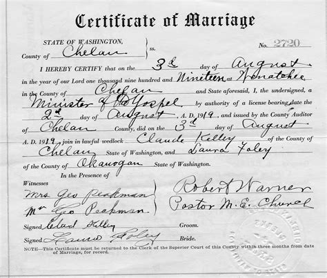 Marriage License Records Washington State Myhamiltonfamily Selected Hamilton Family Documents