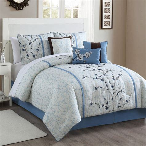 cherry blossom 7 pc comforter set blue cherries