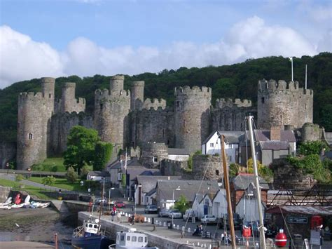 stock photo  docks  conway castle  wales