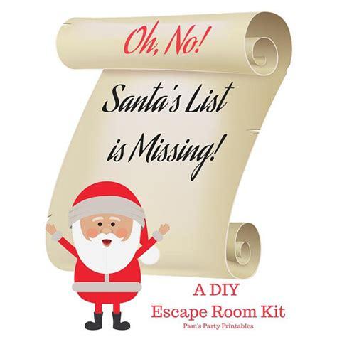 printable escape room kit oh no santa s list is missing a diy escape room kit
