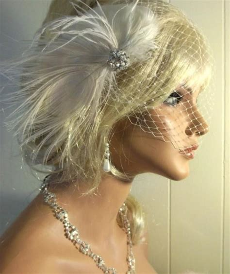 wedding hair using nets wedding fascinator bridal veil ivory peacock hair clip