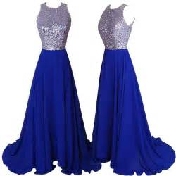 Hot Sell Long Prom Dress Royal Blue A Line Backless With